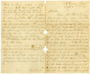 Primary view of [Letter from Henry S. Moore to Charles B. Moore, September 3, 1885]