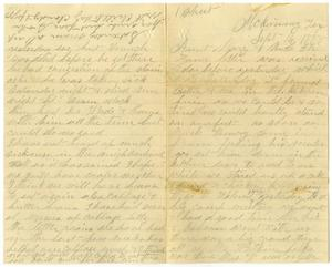 Primary view of object titled '[Letters from Mariah Rucker to Mary Ann and Charles B. Moore, September 14, 1885]'.