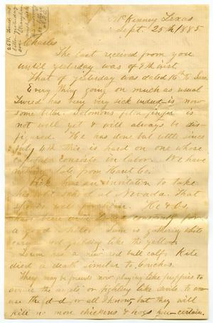 Primary view of [Letter from Henry S. Moore to Charles B. Moore, September 25, 1885]