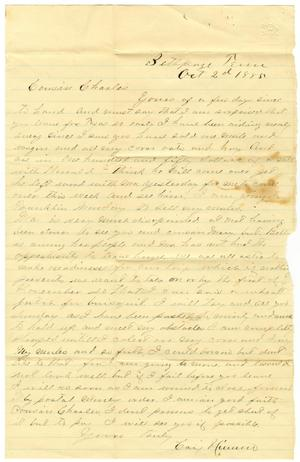 Primary view of [Letter from Cary Nimmo, October 2, 1880]