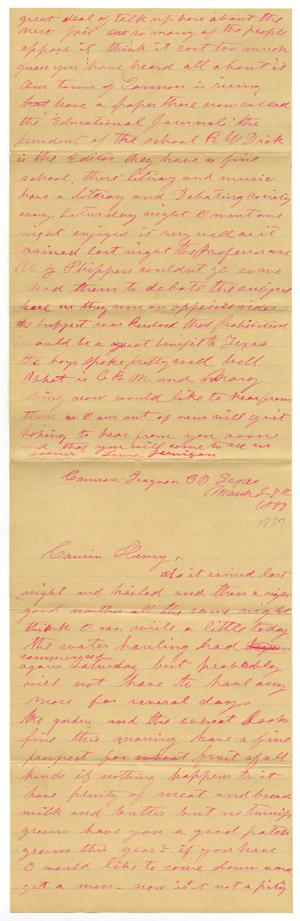 Primary view of object titled '[Letter from Laura Jernigan to Henry Moore, March 27. 1887'.