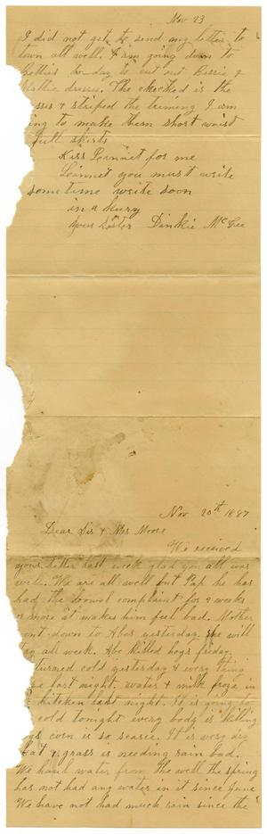 Primary view of [Letter from Dinkie McGee to Mary and Charles Moore, November 20, 1887]
