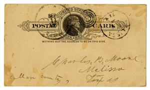 Primary view of object titled '[Postcard from William Dodd to the Moore Family, September 11, 1888]'.
