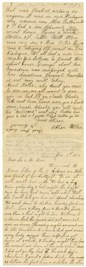 Primary view of object titled '[Letter from Alice and Dinkie McGee and William Dodd to Mollie and Charles Moore, January 1, 1888]'.