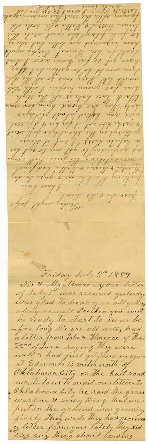 Primary view of object titled '[Letter from Matilda Dodd and Dinkie McGee to Mr. Moore and Sis, July 5, 1889]'.