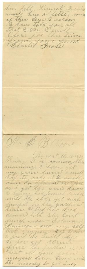 Primary view of [Letter from Charlie Gross to Charles B. Moore, August 16, 1889]