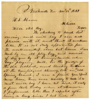 Primary view of [Letter from J. J. Crawford to Henry S. Moore, November 13, 1889]