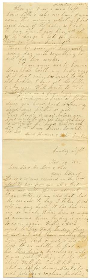 Primary view of object titled '[Letter from Adelitia McGee and Matilda Dodd to the Moore family and Alice McGee, November 24, 1889]'.