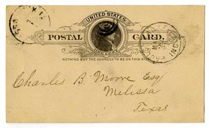 Primary view of object titled '[Postcard from J. K. Dodd to C. B. Moore, March 22, 1890]'.