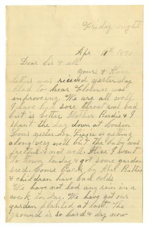 Primary view of object titled '[Letter from Dinkie McGee to Mary and Charles B. Moore, April 10, 1890]'.