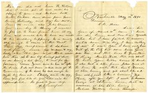 Primary view of [Letter from J. J. Crawford to Charles B. Moore, May 12, 1890]