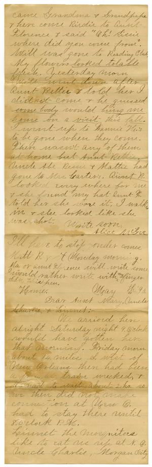 Primary view of object titled '[Letter from Alice McGee to to Aunt Mary and Uncle Charles Moore]'.