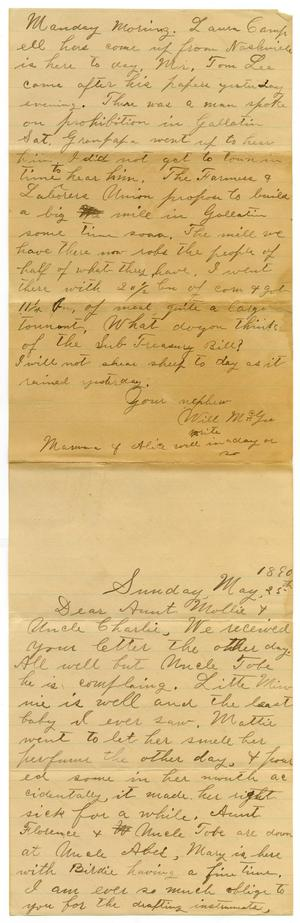 Primary view of object titled '[Letter from Will McGee to Mary and Charles B. Moore, May 25, 1890]'.
