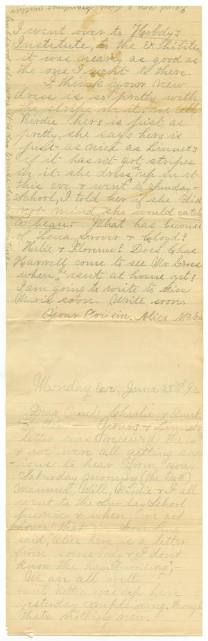 Primary view of object titled '[Letter from Alice McGee to Mary and Charles B. Moore, June 23, 1890]'.