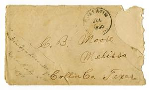 Primary view of [Envelope from Dinkie and Alice McGee to C. B. Moore, July 1890]
