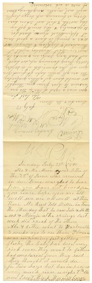 Primary view of [Letter from Matilda Dodd and Dinkie McGee to Sis and Mr. Moore, July 27, 1890]