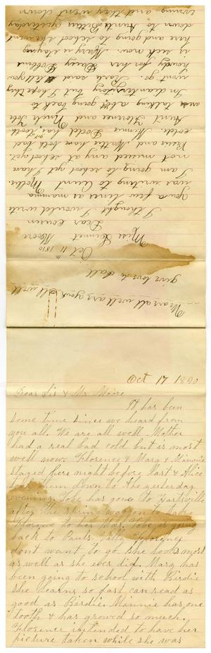 Primary view of object titled '[Letter from Dinkie and Birdie McGee to Linnet, Mr. Moore, and Sis, October 17, 1890]'.