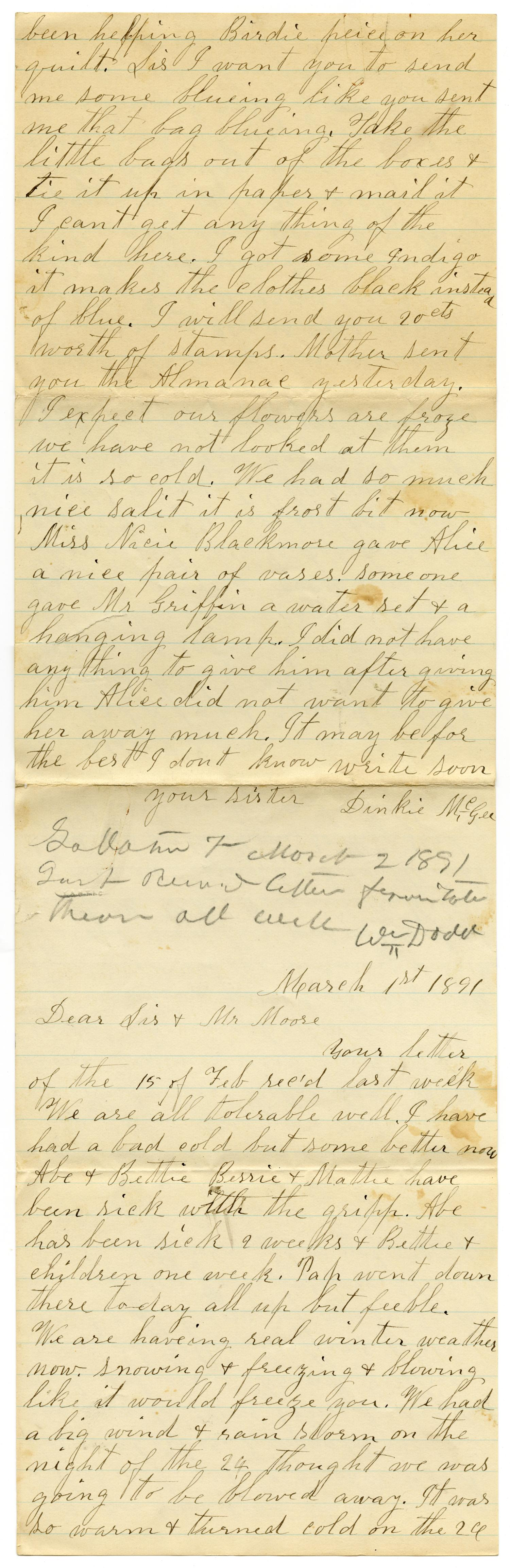 [Letter from Dinkie McGee to Mary and Charles B. Moore, March 1, 1891]                                                                                                      [Sequence #]: 1 of 6
