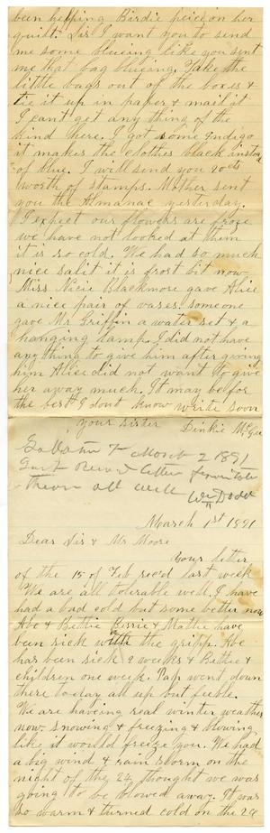 Primary view of object titled '[Letter from Dinkie McGee to Mary and Charles B. Moore, March 1, 1891]'.