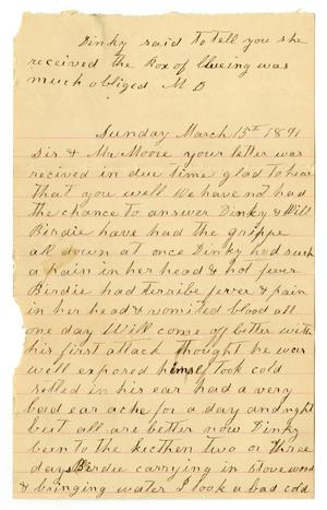 Primary view of object titled '[Letter from Matilda Dodd to Mary and Charles B. Moore, March 15, 1891'.