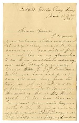 Primary view of [Letter from Laura Jernigan to Charles B. Moore, March 23, 1891]