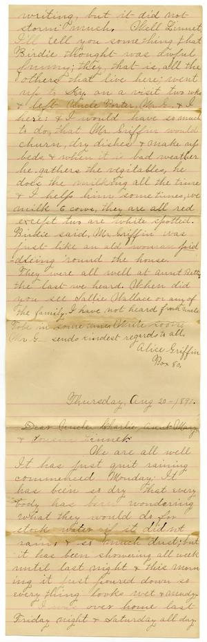 Primary view of object titled '[Letter from Alice Griffin to Mary and Charles B. Moore, August 20, 1891]'.