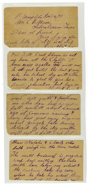 Primary view of [Letter from Tarply, E. D. to Charles B. Moore, December 6, 1891]