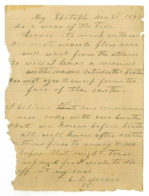 Primary view of [Epitaph, November 20, 1890]