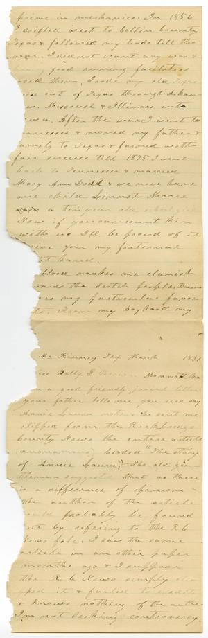 Primary view of [Letter from Charles B. Moore to Patty Brown, March 1891]