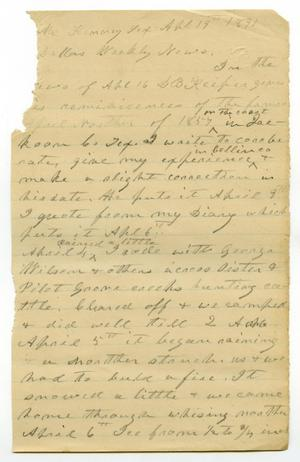 Primary view of object titled '[Draft of letter, April 19, 1891]'.