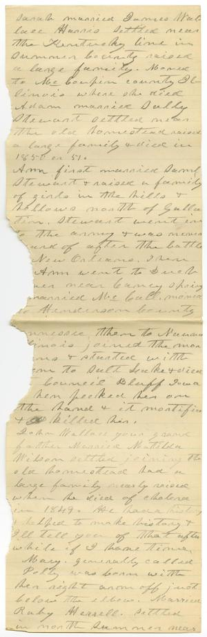 Primary view of object titled '[Account of Wallace Family History]'.