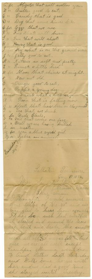 Primary view of object titled '[Letter from Birdie McGee to Linnet Moore, January 17, 1892]'.