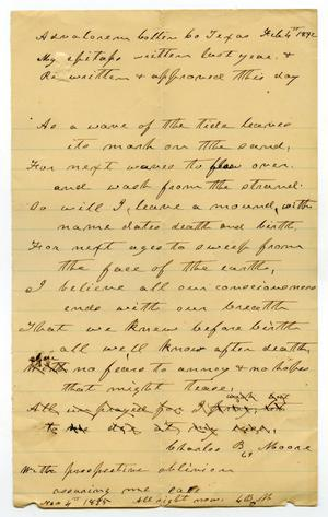 Primary view of [My Epitaph by Charles B. Moore, February 4, 1892]