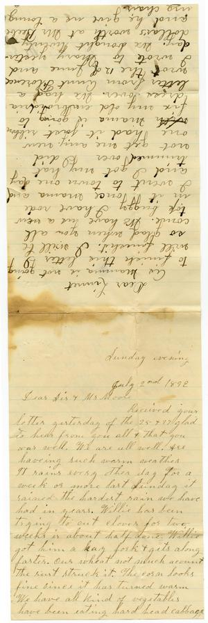 Primary view of [Letter from Dinkie and Birdie McGee to Linnet, Charles, and Mary Dodd, July 2, 1892]