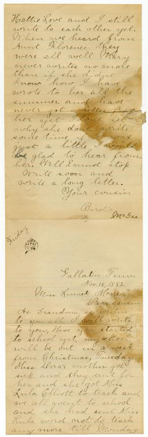 Primary view of object titled '[Letter from Alice Griffin, Matilda Dodd and Birdie McGee to Linnet Moore, November 18, 1892]'.