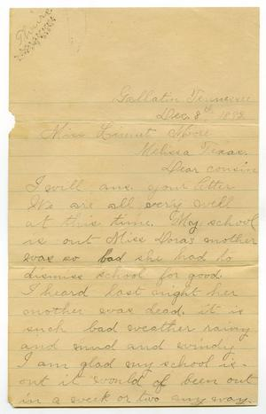Primary view of object titled '[Letter from Birdie McGee to Linnet Moore, December 8, 1892]'.