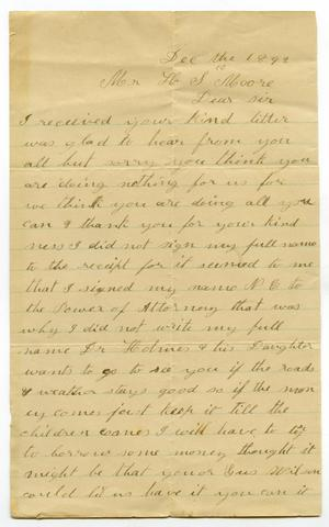 Primary view of [Letter from A. E. Wallace to H. S. Moore, December 10, 1892 ]