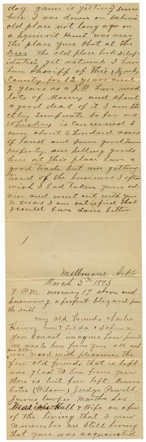 Primary view of [Letter from R. L. Landers to Charles B. Moore, March 3, 1891]