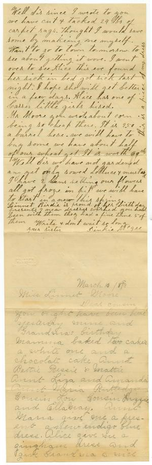 Primary view of object titled '[Letter from Birdie and Dinkie McGee to Mary, Linnet, and Charles B. Moore, March 10,1893]'.