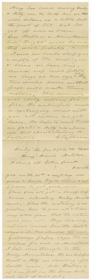 Primary view of object titled '[Letter from C. B. Moore to H. S. Moore, September 26, 1893]'.