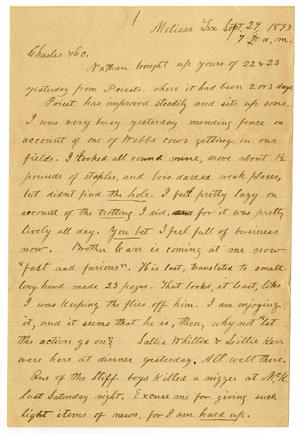 Primary view of [Letter from H. S. Moore to Charles B. Moore, September 29, 1893]