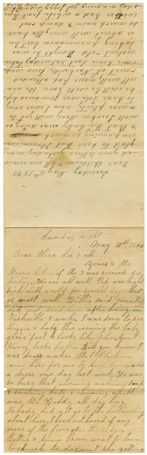 Primary view of [Letter from Adelitia McGee and Matilda Dodd to the Moore family and Alice McGee, May 11, 1890]