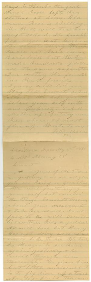 Primary view of object titled '[Letter from C. B. Moore to Linnet, May 23, 1895]'.