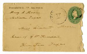 Primary view of [Envelope from Mary A. Moore to Linnet Moore, May 21, 1895]