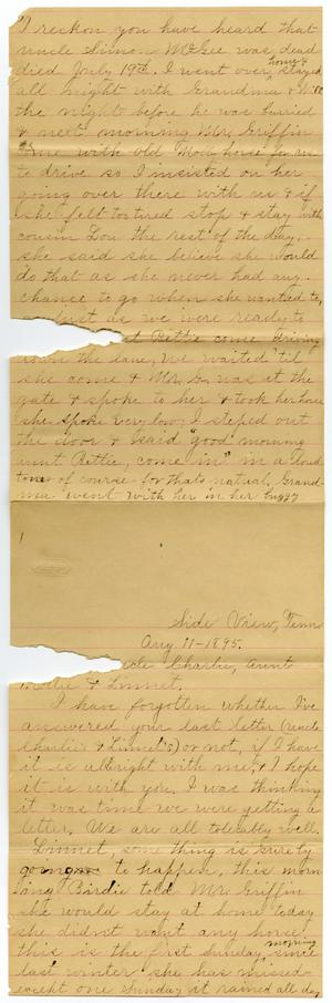 Primary view of object titled '[Letter from Alice Griffin to Charles, Mary and Linnet Moore, August 11, 1895]'.