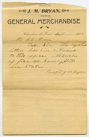 Primary view of object titled '[Letter from J. M. Bryan to C. B. Moore, April 1, 1896]CBM_2083-006-002'.