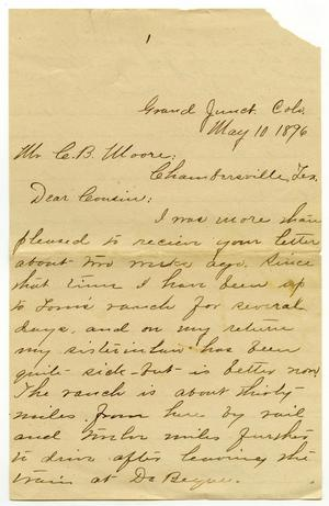 Primary view of [Letter from Camilla Wallace to Charles B. Moore, May 10, 1896]