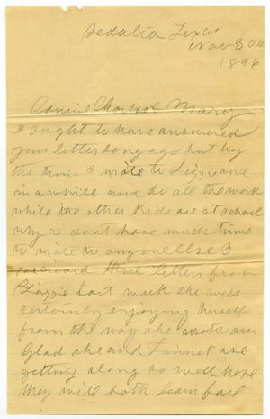 Primary view of object titled '[Letter from Laura Jernigan to Charles and Mary Moore, November 30, 1896]'.