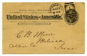 Primary view of [Letter from K. Wallace to Charles B. Moore, August 29, 1897]