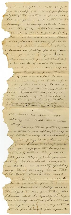 Primary view of object titled '[Letter from Charles B. Moore to Mary Moore, November 3 - 4, 1897]'.